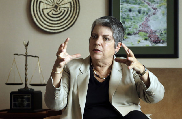 "University of California President Janet Napolitano gestures while speaking to a reporter Tuesday, Sept. 30, 2014, in Oakland, Calif. Marking her one-year anniversary as leader of the 10-campus public college system, the former Homeland Security secretary said she shares the concerns of Californians who watched the percentage of nonresidents accepted rise sharply during the recession and that UC needs to look at whether it has struck ""the right balance"" between those higher-paying students and in-state students whose educations are partially funded by the state.  (AP Photo/Ben Margot)"