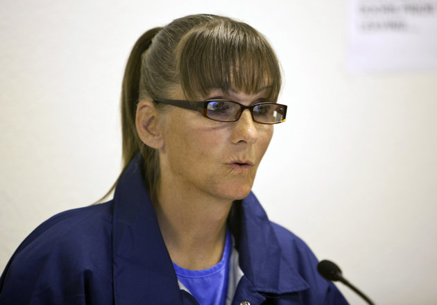 FILE - This May 21, 2015 file photo Inmate Michelle-Lael Norsworthy speaks during her parole hearing at Mule Creek State Prison in Ione, Calif.  Gov. Jerry Brown is weighing whether to grant parole for Norsworthy, a transgender inmate who is trying to force California to become the first state to pay for a prisoner's sex reassignment surgery. (AP Photo/Steve Yeater,File)